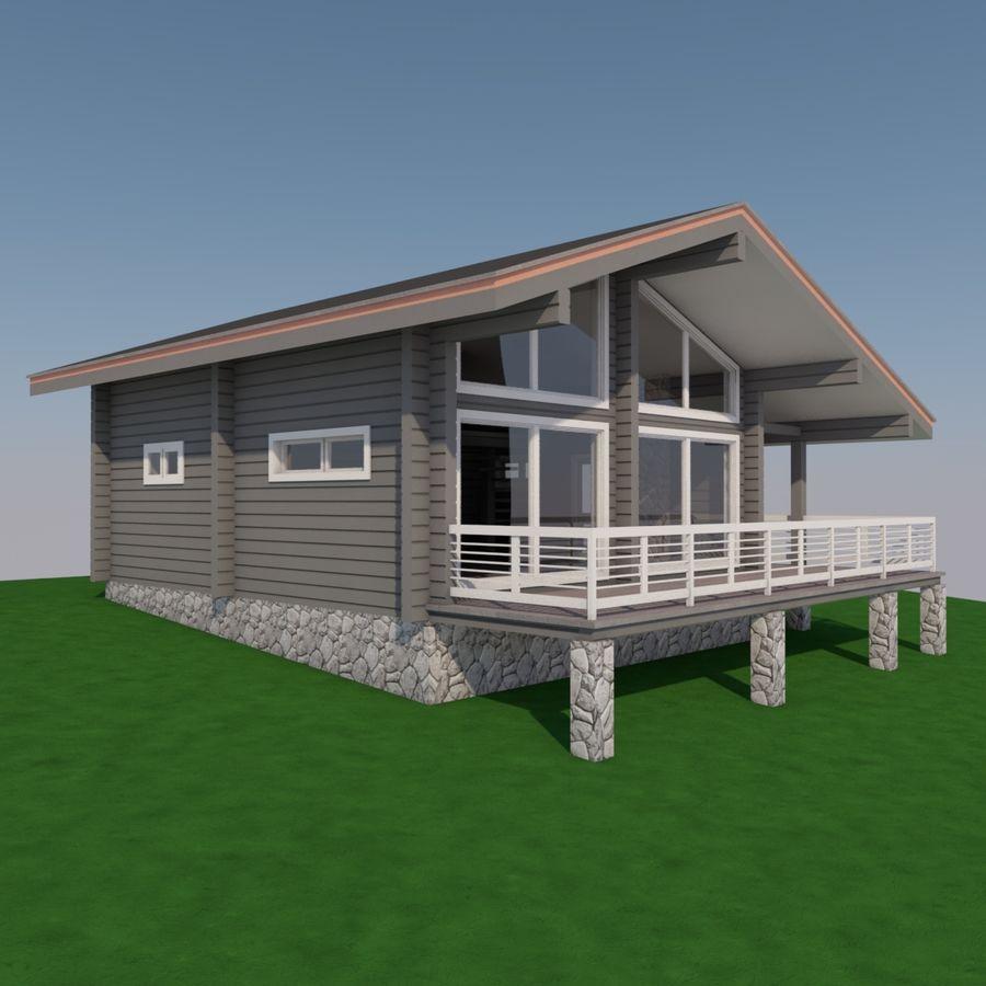Europejski dom z bali drewnianych royalty-free 3d model - Preview no. 5