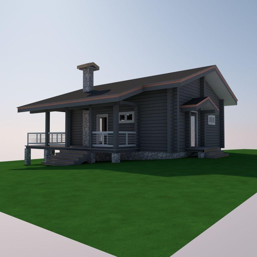 Europejski dom z bali drewnianych royalty-free 3d model - Preview no. 6