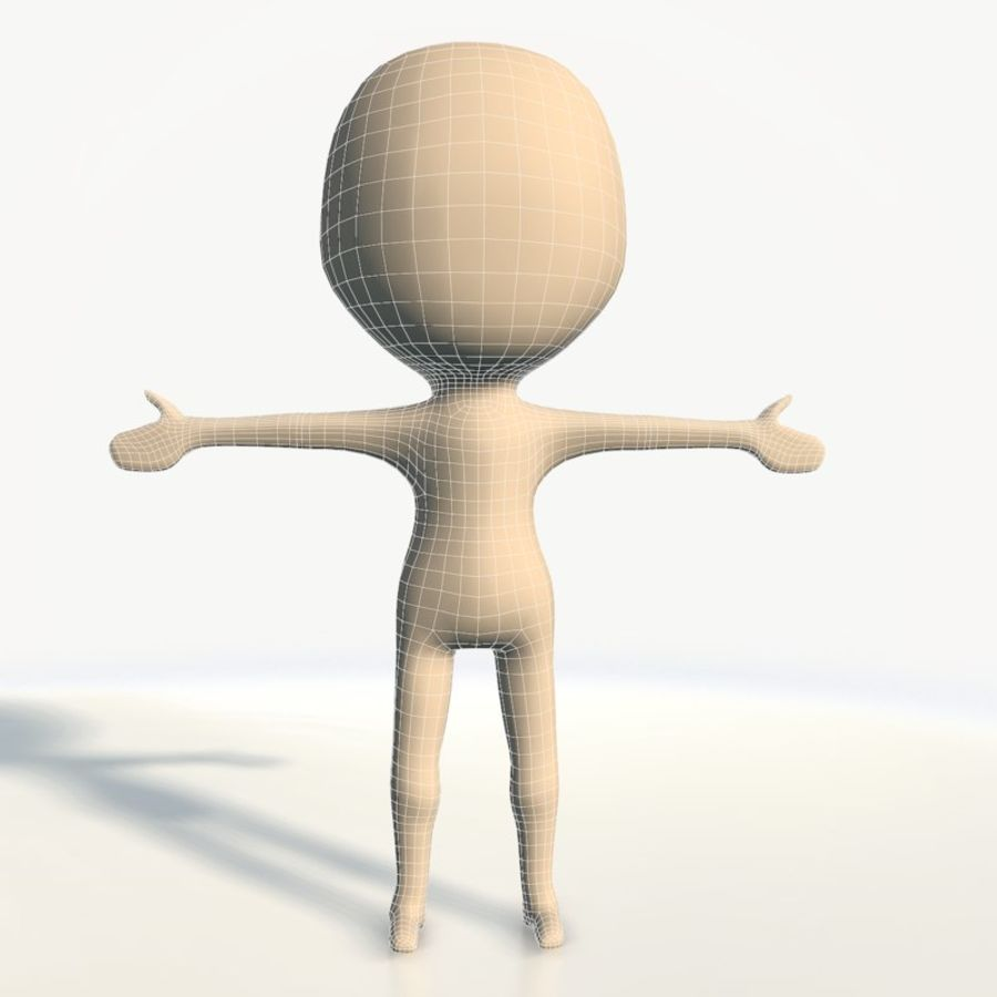 Chibi base character simple royalty-free 3d model - Preview no. 9