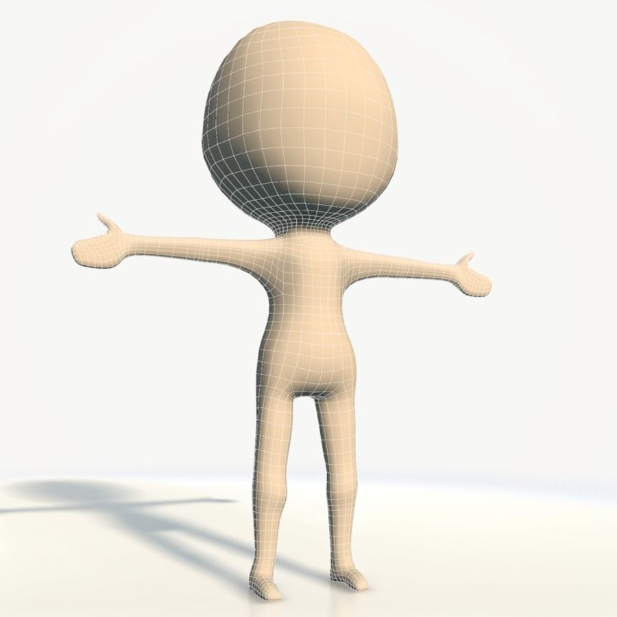 Chibi base character simple royalty-free 3d model - Preview no. 5