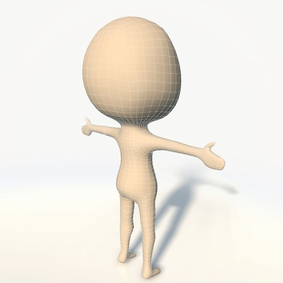 Chibi base character simple royalty-free 3d model - Preview no. 7