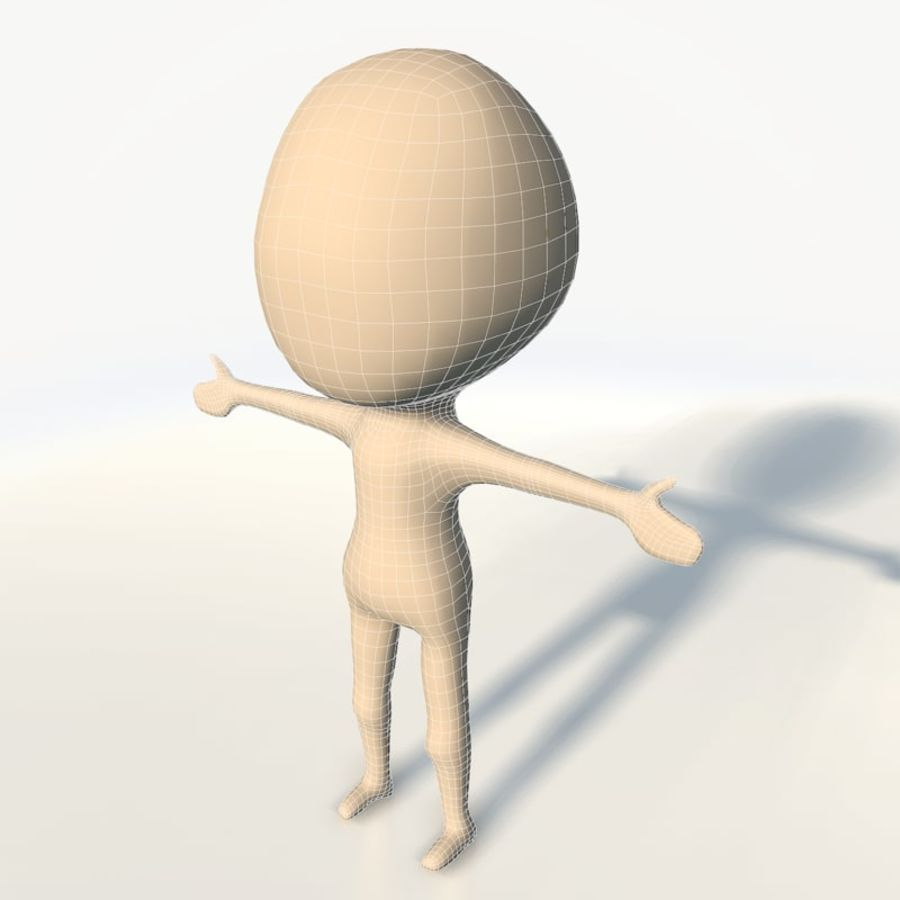 Chibi base character simple royalty-free 3d model - Preview no. 3