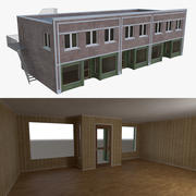 Brick building one with interior full 3d model