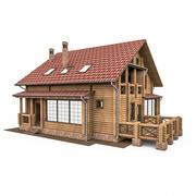 Europejski Okrągły Bar Wood House 3d model