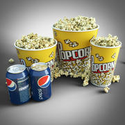 Set cinema popcorn 3d model