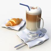 Kruvasan ile latte 3d model