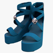 Women Blue High Heels Shoe 3d model
