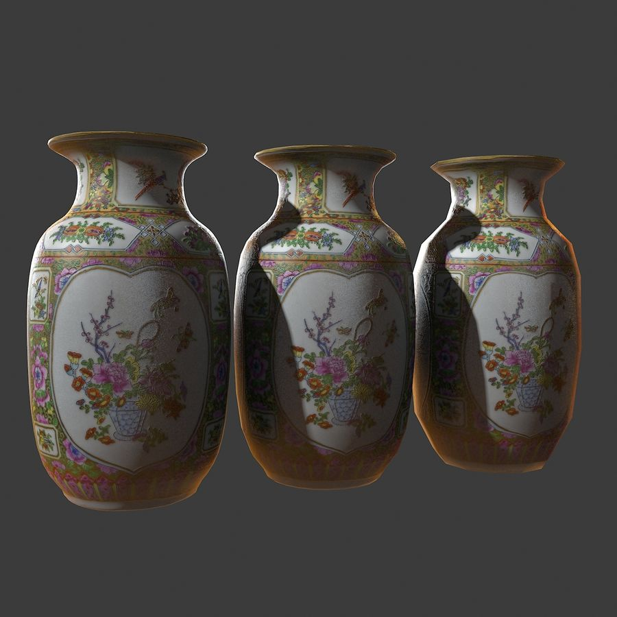 Floral Ornamental Vase Flower Amphora Architectural Decor Dekorative Topf Geschirr reich royalty-free 3d model - Preview no. 9