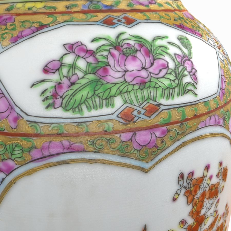 Floral Ornamental Vase Flower Amphora Architectural Decor Dekorative Topf Geschirr reich royalty-free 3d model - Preview no. 17