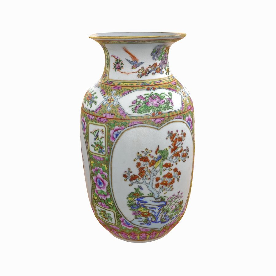Floral Ornamental Vase Flower Amphora Architectural Decor Dekorative Topf Geschirr reich royalty-free 3d model - Preview no. 16