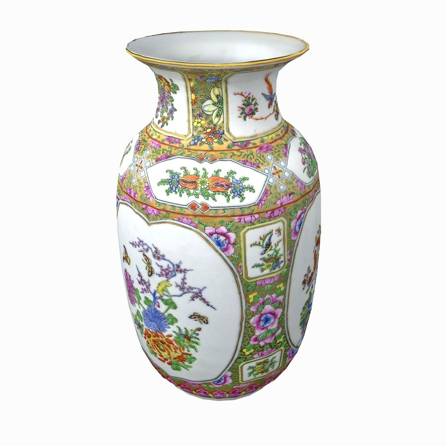 Floral Ornamental Vase Flower Amphora Architectural Decor Dekorative Topf Geschirr reich royalty-free 3d model - Preview no. 5