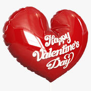 Folha de balão inflável coração vermelho 3d model