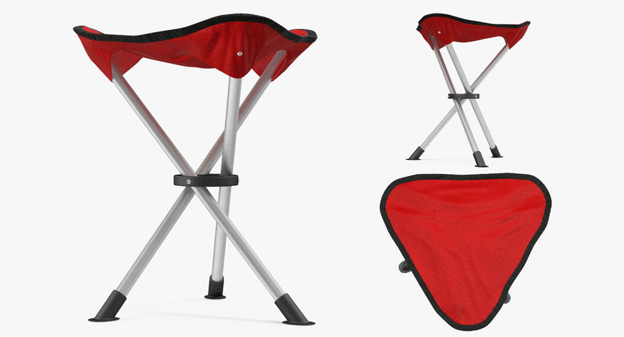 Fällbar stativ Fiske Campingstol Röd royalty-free 3d model - Preview no. 4
