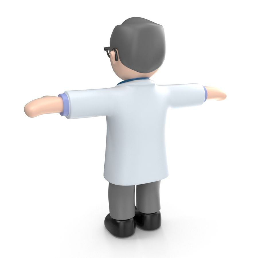 Doctor stickman royalty-free 3d model - Preview no. 11