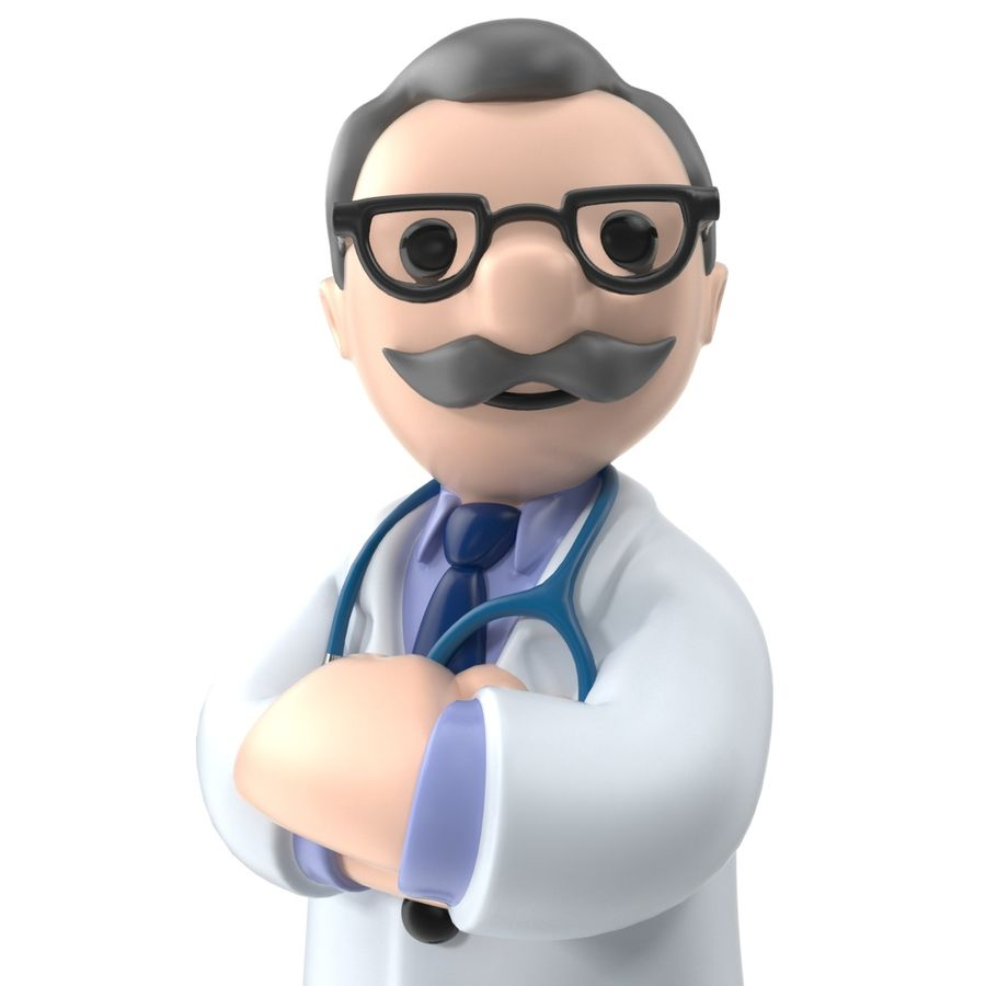 Doctor stickman royalty-free 3d model - Preview no. 6