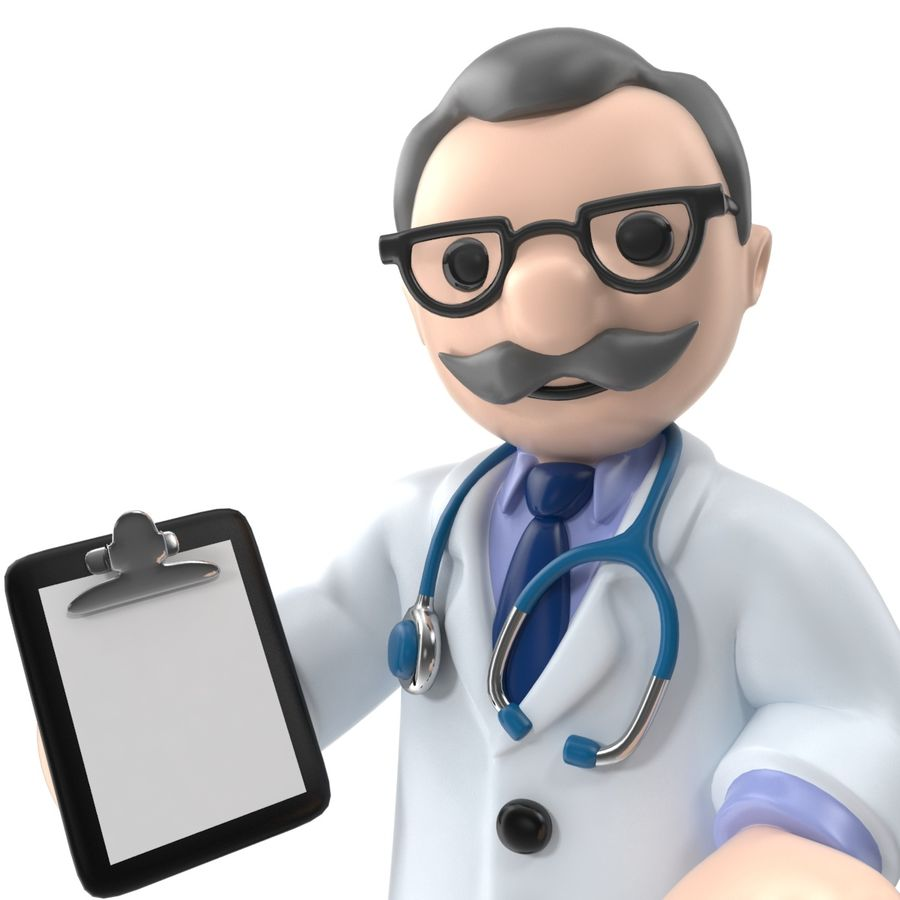 Doctor stickman royalty-free 3d model - Preview no. 3