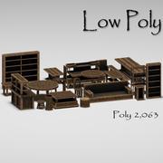 툰 낮은 폴리 목재 가구 3d model