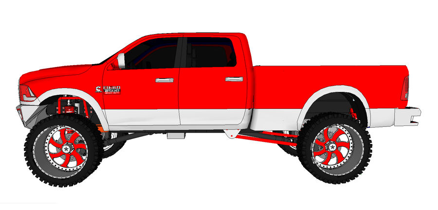 Dodge 2500 royalty-free 3d model - Preview no. 7