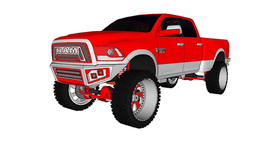 Dodge 2500 royalty-free 3d model - Preview no. 2