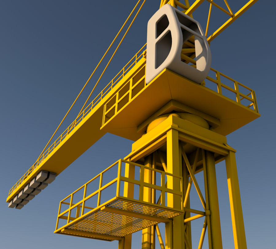 Construction tower crane royalty-free 3d model - Preview no. 6