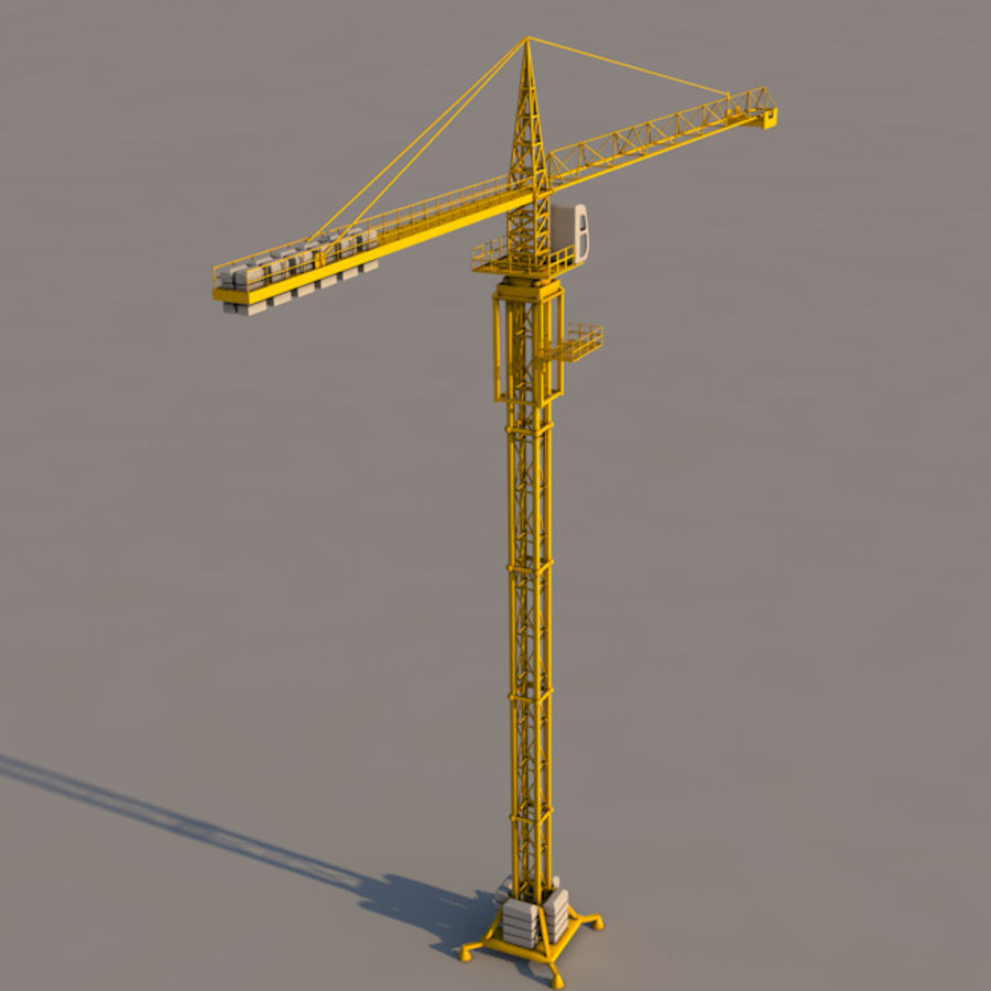 Construction tower crane royalty-free 3d model - Preview no. 2