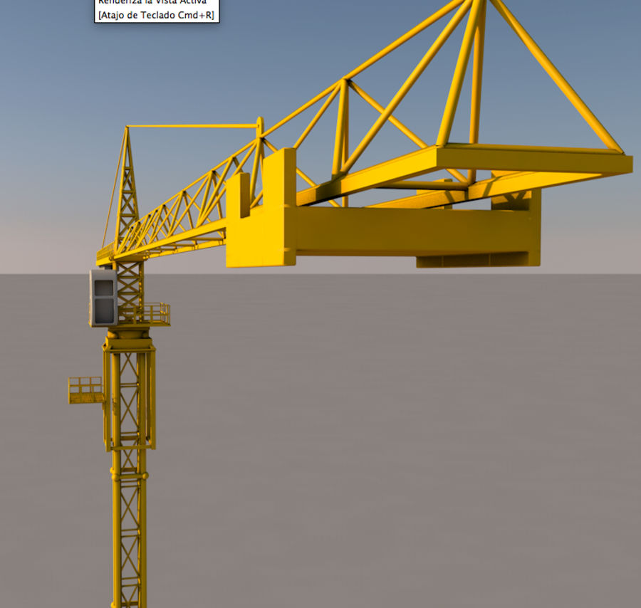 Construction tower crane royalty-free 3d model - Preview no. 4