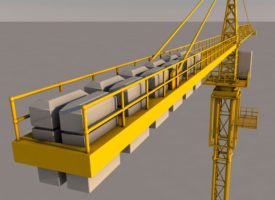 Construction tower crane royalty-free 3d model - Preview no. 3