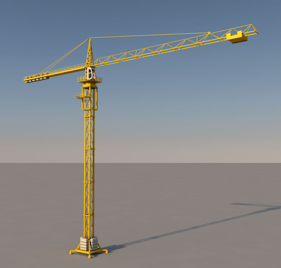 Construction tower crane royalty-free 3d model - Preview no. 1
