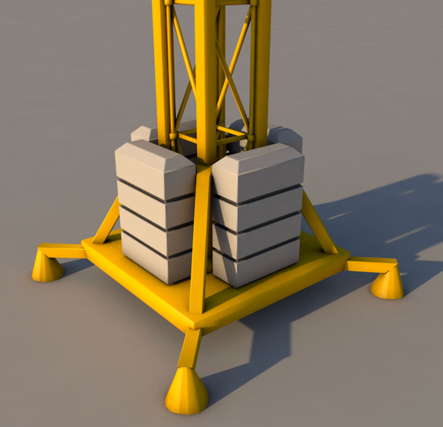 Construction tower crane royalty-free 3d model - Preview no. 7