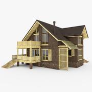 유럽식 모던 스톤 하우스 3d model