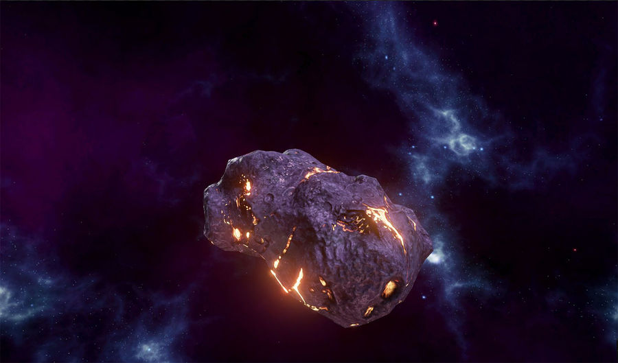 Asteroid Cracked-A4 royalty-free 3d model - Preview no. 6