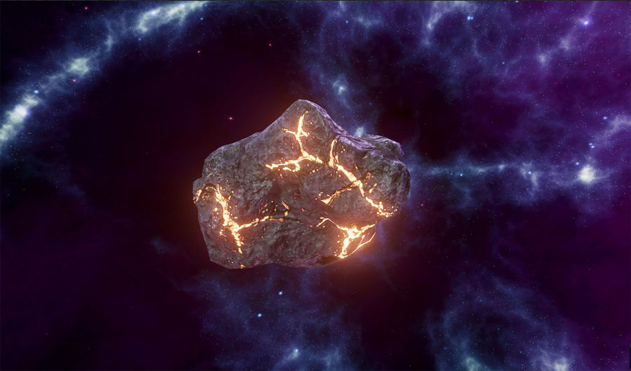 Asteroid Cracked-A4 royalty-free 3d model - Preview no. 2