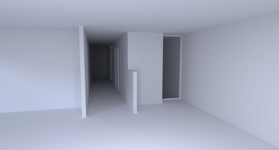 Modern huis met interieur royalty-free 3d model - Preview no. 8