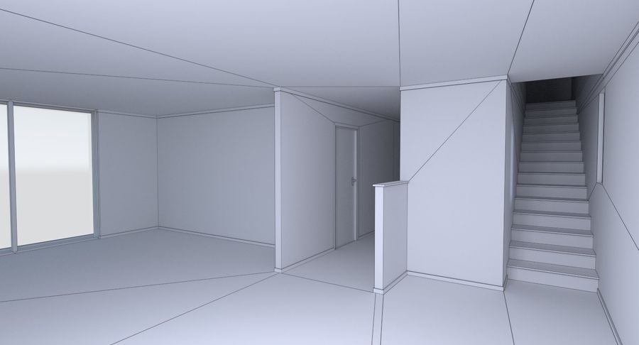 Modern huis met interieur royalty-free 3d model - Preview no. 25
