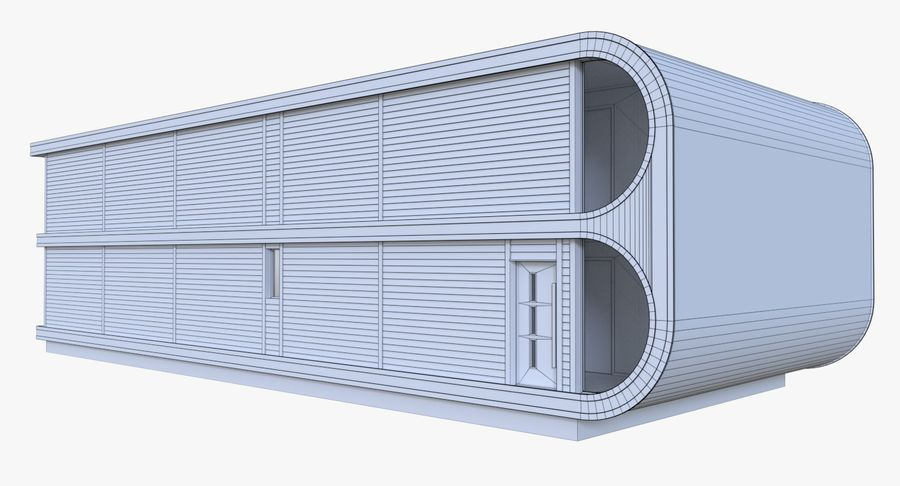 Modern huis met interieur royalty-free 3d model - Preview no. 17