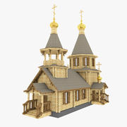 Russian Wooden Church 3d model