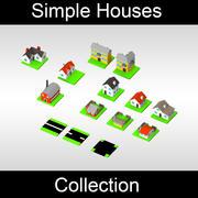 Basit evler koleksiyonu - renkli 3d model
