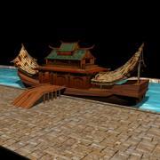 中国の家のボート 3d model