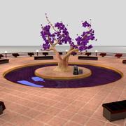 Liten stadspark 2 (verklig skala) 3d model