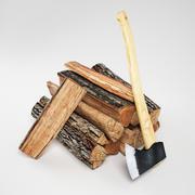 Drewno Kominkowe Z Siekierą 3d model