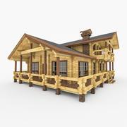 Modernt timmerhus med terrass 3d model