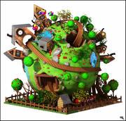 Desenhos animados do planeta da montanha russa da fantasia 3d model