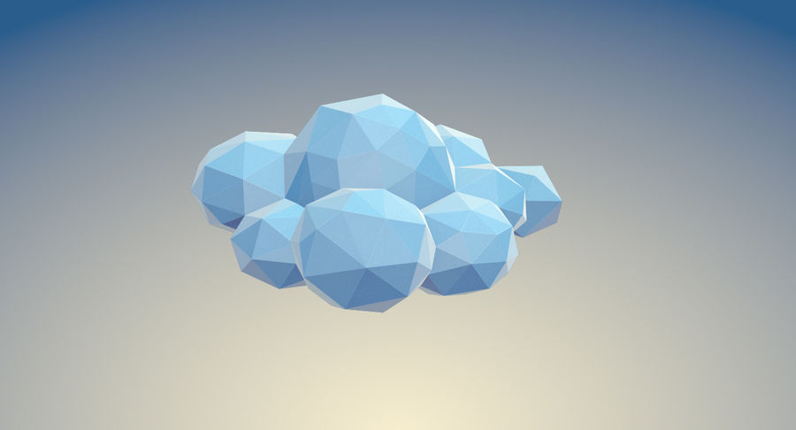 Nuages Low Poly royalty-free 3d model - Preview no. 19