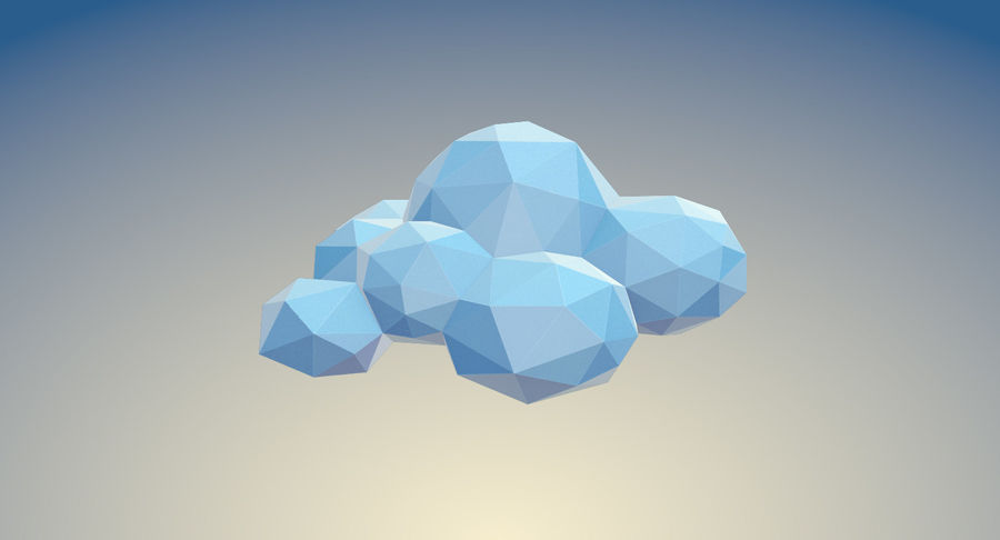 Nuages Low Poly royalty-free 3d model - Preview no. 17