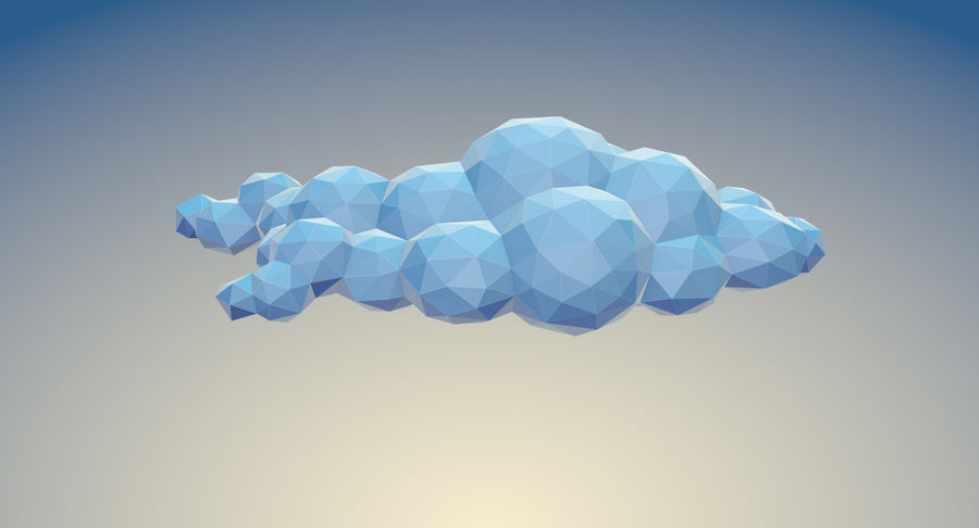 Nuages Low Poly royalty-free 3d model - Preview no. 10