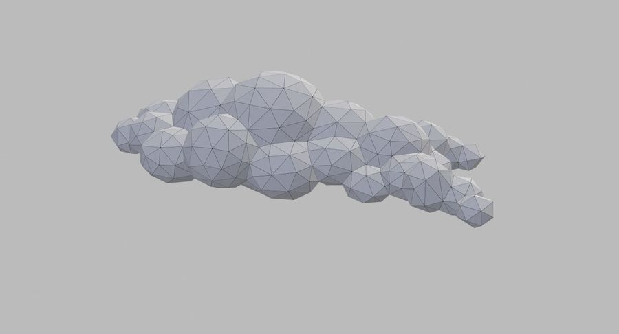 Nuages Low Poly royalty-free 3d model - Preview no. 23