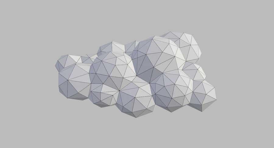Nuages Low Poly royalty-free 3d model - Preview no. 30