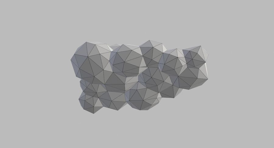 Nuages Low Poly royalty-free 3d model - Preview no. 32