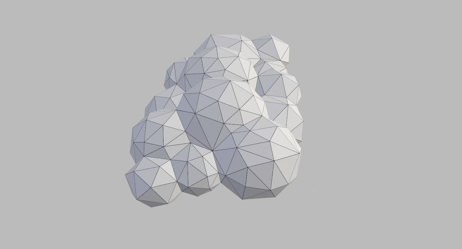 Nuages Low Poly royalty-free 3d model - Preview no. 29