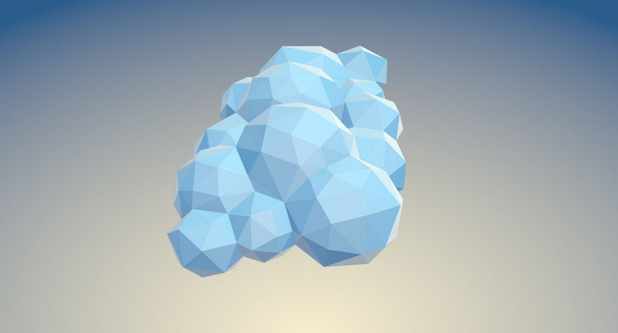 Nuages Low Poly royalty-free 3d model - Preview no. 13